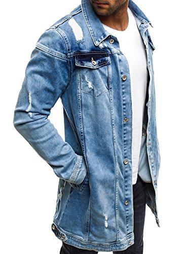 Hombres Invierno Chaqueta ot de Chaqueta con 474k Azul OZONEE J de Mix 3056 para ozonee Style Chaqueta Jacket Vaquera Capucha Cuero Chaqueta A0qpXx
