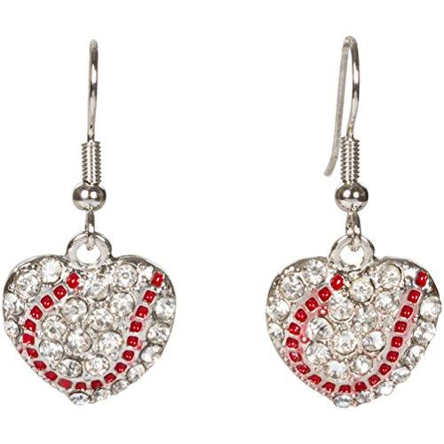 Heirloom Crystal (Heirloom Finds Crystal Heart Shaped Baseball Softball Dangle Earrings)