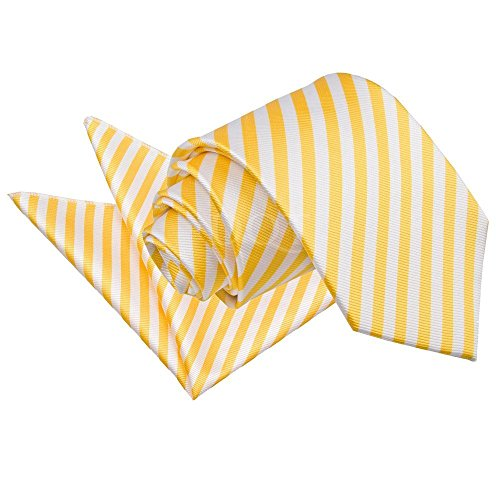 Standard amp; Thin Yellow Hanky Men Cufflinks Casual DQT White Neck Stripe Tie gSFqwvIw