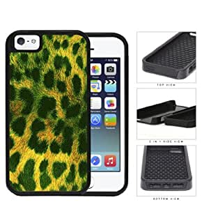 Exotic Leopard Print Series 2-Piece Dual Layer High Impact Black Silicone Apple iPhone 5 5s (Green)