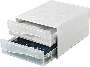 VANRA Desktop Drawer Organizer 2-Drawer System Office Stacking Drawer Set Plastic Storage File Cabinet for A4 Letter Size (Translucent)