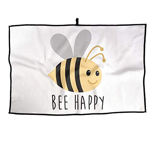 ElephantAN Bee Happy Grid Microfiber Cooling Golf Towel Ice Sports Travel Towel Chilly Towel, Yoga, Fitness, Gym