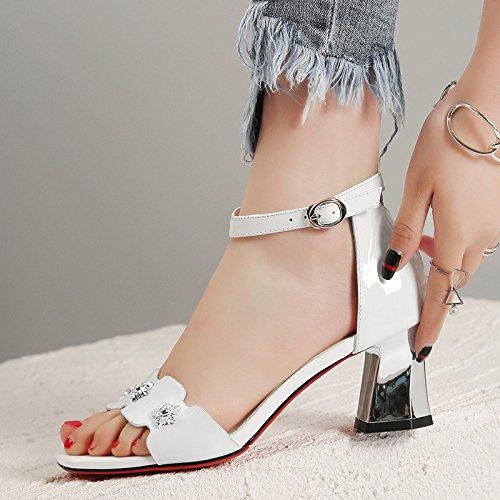 Ceinture White en Boucle Cuir Femmes DKFJKI Talon à Mesdames Sandales de Robes Talons Strass Mode Haut Chaussures qPav7q4