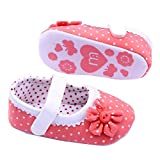 Susenstone Summer Baby Girls Flower Shoes Soft Sole Toddler PU Leather Crib Shoes (L, Dark Pink)
