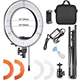 FOSITAN 14'' Outer LED Ring Light 3200K/5500K LED Dimmable Camera Photo Video Lighting Kit with 2M Adjustable Stand, Cradle Head, Bluetooth Receiver for YouTube, Studio Shooting, Portraiture