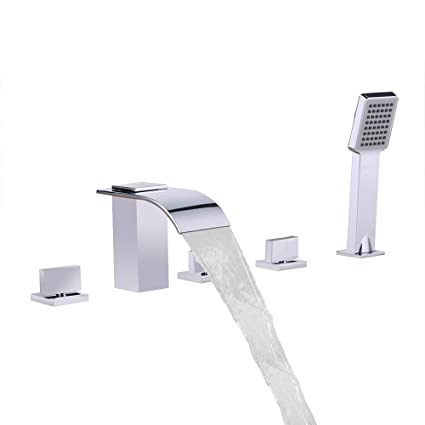 Roman Tub Faucet With Hand Shower 3 Hole.Lovedima Waterfall 5 Hole Roman Tub Filler Faucet 3 Handles Deck Mounted Widespread Bathroom Bathtub Faucet With Handheld Shower Chrome