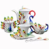 Choholete Porcelain Gorgeous Peacock Coffee Mug Set Tea Set Pot 21-Piece Green