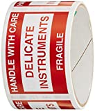 TapeCase''Delicate Instruments, Fragile'' Label - 50 per pack (1 Pack)