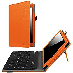 Fintie Keyboard Case for Amazon Fire HD 8 (Previous Generation - 6th) 2016 release, Slim Fit PU Leather Stand Cover with Quality All-ABS Hard Material Removable Wireless Bluetooth Keyboard, Orange