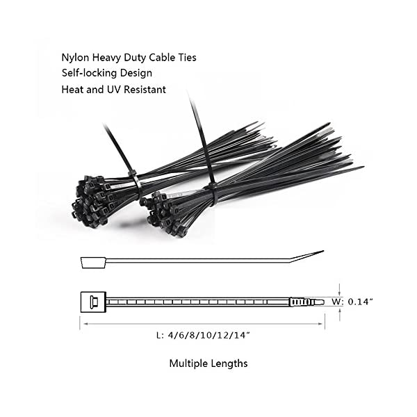 600 Pcs Nylon Cable Zip Ties with Self-Locking 4//6//8//10//12//14 Inch /& 0.145 Inch