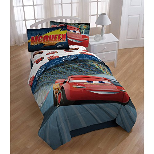 Cars 3 (New 2017) 6-Piece Twin Bedding Collection with Comforter, Sheet Set and Night Light
