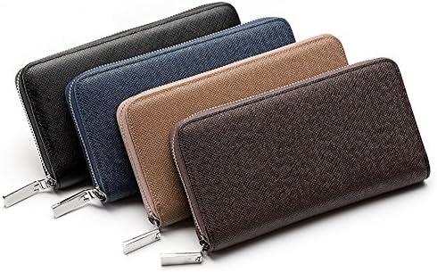 FinancePlan Vintage Womens Long Bifold Wallet Mens Faux Leather Zipper ID Credit Card Holder