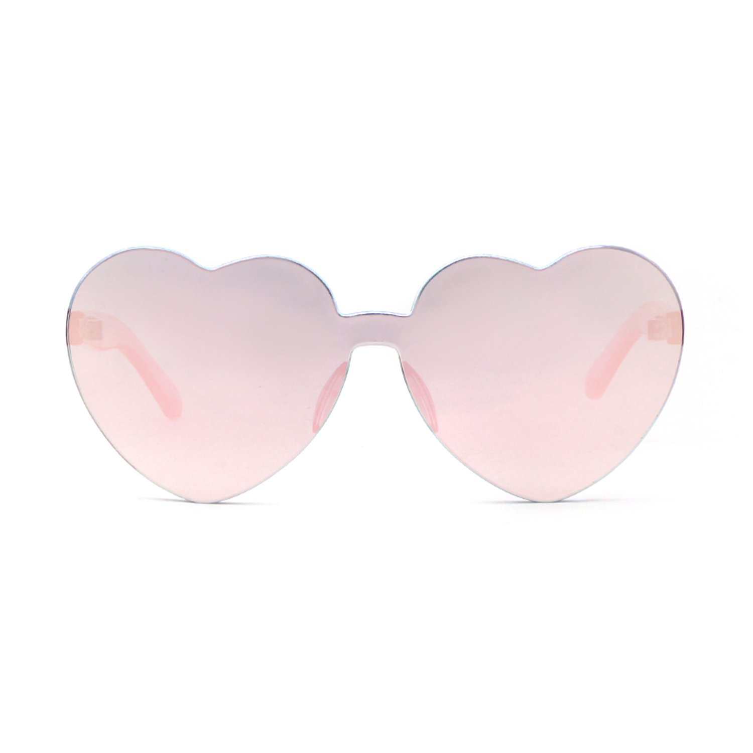 d72593e3589 ADEWU Love Heart Sunglasses Women Girl Rimless Candy Color One Piece Eyewear   Amazon.co.uk  Clothing