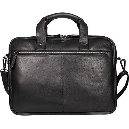 STILORD 'Walt' Vintage Maletin Bolso Bandolera para oficina Profesor Bolso de negocios hombres piel maletín bolso para ordenadores portátiles grande y universidad cuero de vaca, Color:negro negro
