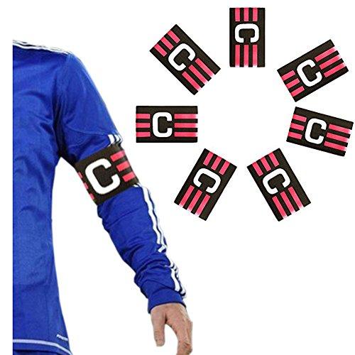 Zaptex Football Soccer Adjustable Elastic Captain Armband Pack of 7 (Black, One Size)