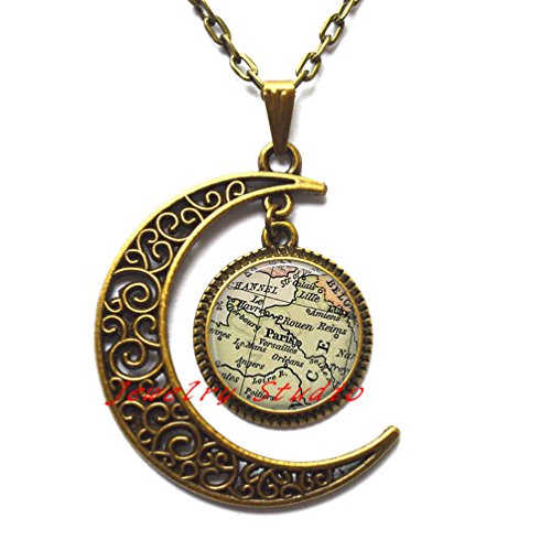Charming fashion moon necklace,Paris map necklace, Paris vintage map pendant, Paris map jewelry , map pendant charm with gift - Island Store Fashion Map