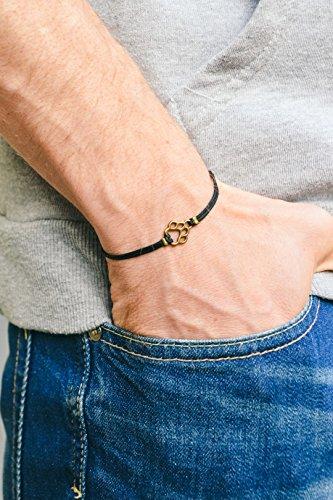 Animal Black Bracelet - Paw bracelet, men's bracelet, bronze paw charm, black cords, animal lovers, bracelet for men, dog, pet lover bracelet, vegan, mens jewelry