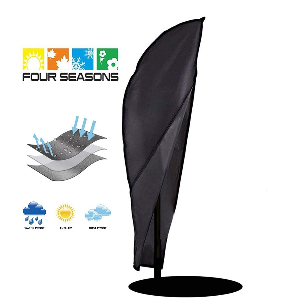 JLXJ Waterproof Cantilever Parasol Outdoor Umbrella Cover, for Protecting Your Garden Patio, Black (Size : 104X39 in) by JLXJ