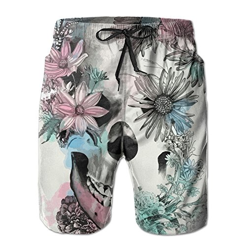 b969e9e2d0 Skull And Flowers Tattoo Men's Tropical Quick Dry Board Shorts Bathing  Suits Swimwear Volley Beach Trunks