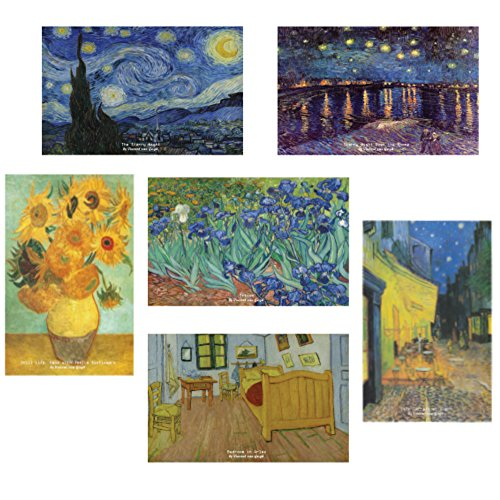 Vincent Van Gogh Starry Night Famous Paintings Postcards (30 Pack) - Starry Night Sunflowers Famous Paintings Postcards - Collectible Vintage Art Gifts - Premium Quality - Best Stocking Stuffers