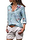 CILKOO Womens 2018 Fashion Swing Flare Tops and Blouses Loose Tunic Casual V Neck Long Sleeve Floral Print Bohemian Button Down Henleys Shirts Blouses Tops Blue US8-10 Medium