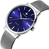 Affute Minimalist Design Quartz Mens Watches with Blue Face Date Silver Mesh Stainless Steel Band