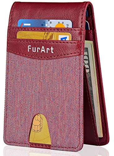 907600f7dc09 RFID Credit Card Holder FurArt Bifold Slim Wallet-Minimalist Front Pocket  Wallet with Money Clip for Men and Women. Fulfilled by Amazon