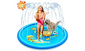 """(68"""") Inflatable Splash Sprinkler Pad for Kids Toddlers Dogs, Kiddie Baby Pool, Outdoor Water Mat Toys - Baby Infant Wading Swimming Pool - Fun Backyard Fountain Play Mat for 1 -12 Year Old Girls Boys"""