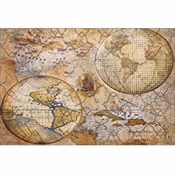 Amazon neutral antique world map globe pattern travel painting neutral antique world map globe pattern travel painting tan grey canvas art by pied piper gumiabroncs Images