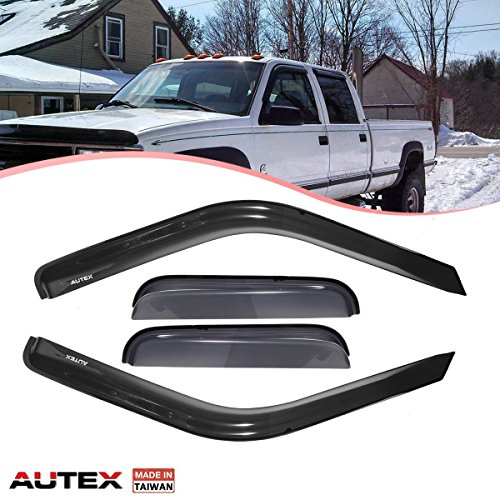 AUTEX Tape On Window Visor Compatible with Chevrolet GMC Extended Pickup 88 89 1990 1991 1992 1993 1994 1995 1996 1997 1998 1999 Window Deflector Visor Sun Rain Shade Wind Guard Made in Taiwan 4pcs