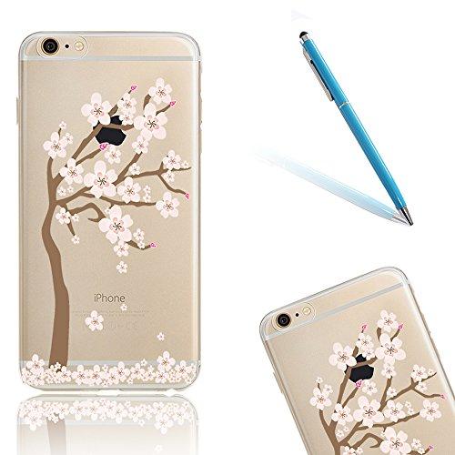 iPhone 5s Funda, Rosa Cerezo Flor Serie CLTPY iPhone SE Carcasa Suave Silicona Transparente Caja Protectora con Bling Brillante Diamante para 4.0 Apple iPhone 5/5S/SE + 1x Lápiz Libre Árbol de Brote