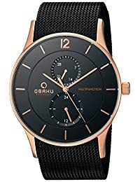 Obaku Men's V157GMVBMB Analog Display Analog Quartz Black Watch