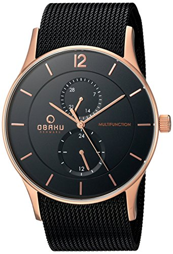 Obaku Men's Quartz Stainless Steel Dress Watch, Color:Black (Model: V157GMVBMB)