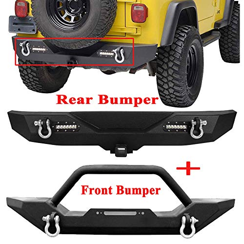 BBUT Black Front and Rear Bumper with Winch Plate and Led Lights w/D-Rings for Jeep Wrangler YJ TJ 1987 1988 1999 1990 1991 1992 1993 1994 1995 1996 1997 1998 1999 2000 2001 2002 2003 2004 2005 2006