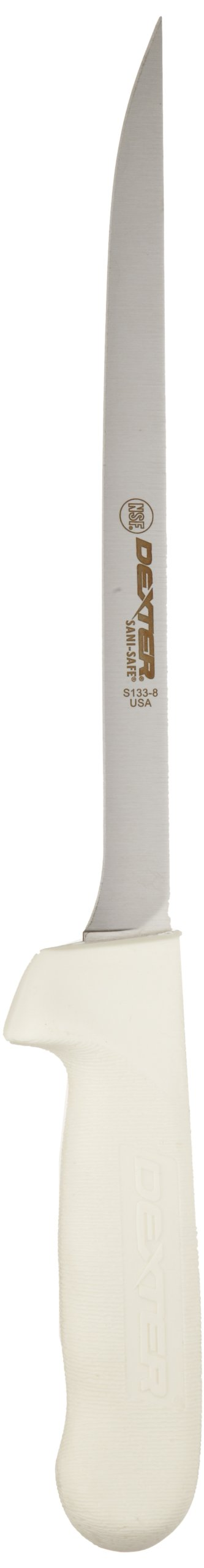 Sani-Safe S133-8-PCP 8'' White Narrow Fillet Knife with Polypropylene Handle