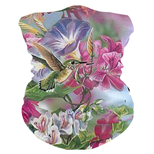 SLHFPX Hummingbird Flowers Balaclava WoHeadband Scarf Bandana,Muffler,Neck Gaiter,Magic,Headwrap Tube