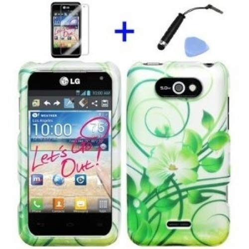 (4 items Combo: ITUFFY (TM) Mini Stylus Pen + LCD Screen Protector Film + Case Opener + Silver Green Vine Hawaiian Flower Design Rubberized Snap on Hard Shell Cover Faceplate Skin Phone Case for LG Motion 4G MS770 - Metro PCS / LG Regard LW770 - Cricket / LG Regard LW770)