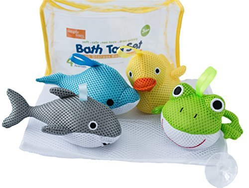 Bath Toys - Soft, Safe & Educational for Baby & Toddlers - Best Set for Kids of All Ages - Interactive Play & Games for Boys and Girls - Use In or Out of Tub - BONUS Case & Mesh Net Organizer Bag for Storage & Drying - Easy to Clean, Without Holes - NO Mold - Satisfaction Guaranteed!