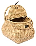Cheap BirdRock Home Seagrass Picnic Basket | Hand Woven | Espresso | Decorative Metal Latches | Divided Lid | Home Décor | Folding Handles