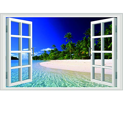 Amtoodopin Fake Window Wall Decal Beach Window Decal Stickers Picture Faux Windows for Walls 3D Floor Decals Ocean Wall Mural Landscape Wall Decor for Livingroom Bedroom Office (Blue ()