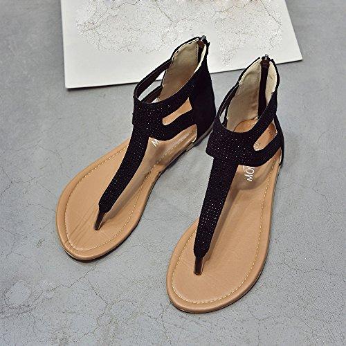 9deef2ed7 Kasien Women Diamond Zipper Gladiator Low Flat Flip Flops Beach Sandals  Bohemia Shoes