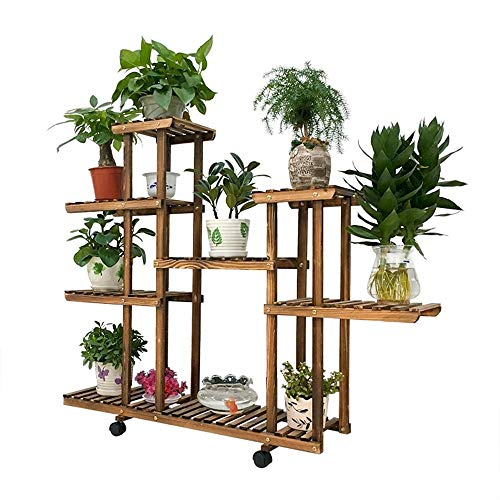 Giow Outdoor Herb Flower Plant Stands Modern Simple Wood Can Be Moved Flower Racks American Pastoral Multi-Storey Bonsai Flower Racks Living Room Balcony Indoor and Outdoor Flower Racks Indoor an