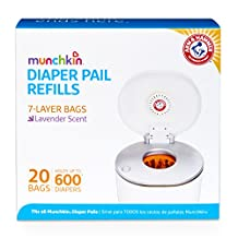 Munchkin Arm and Hammer Diaper Pail Bag Refills, Orange, 20 Bags