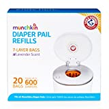 Munchkin Arm and Hammer Diaper Pail Bag Refills, Orange, 20 Bags