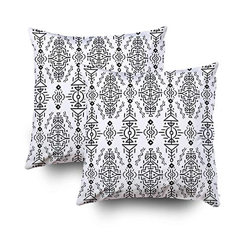 Decorative Pillow Covers,EMMTEEY 18x18 2 PCS Pillow Covers Home Throw Pillow Covers for Sofa nouveau art pattern flower seamless wallpaper background vector abstract backdrop beautifu Square Double Si (Zip Back Nouveau)