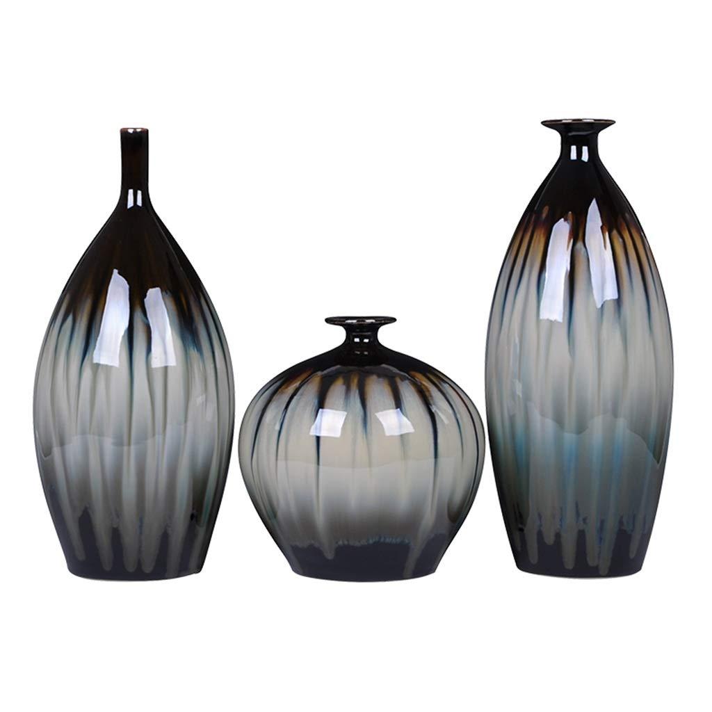 MAHONGQING 花瓶セラミック窯変更花瓶スリーピース古典的な家の装飾レトロリビングルームの装飾彫刻 B07RTLRCHH