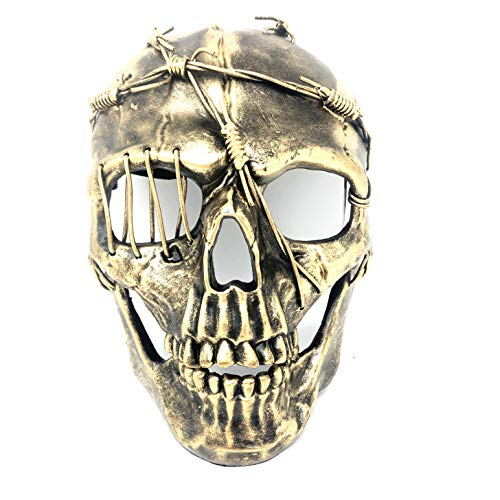 Storm Buy ] Steampunk Style Metallic Scary Horror Skeleton Mask for Halloween Costume Cosplay Party (Gold)]()