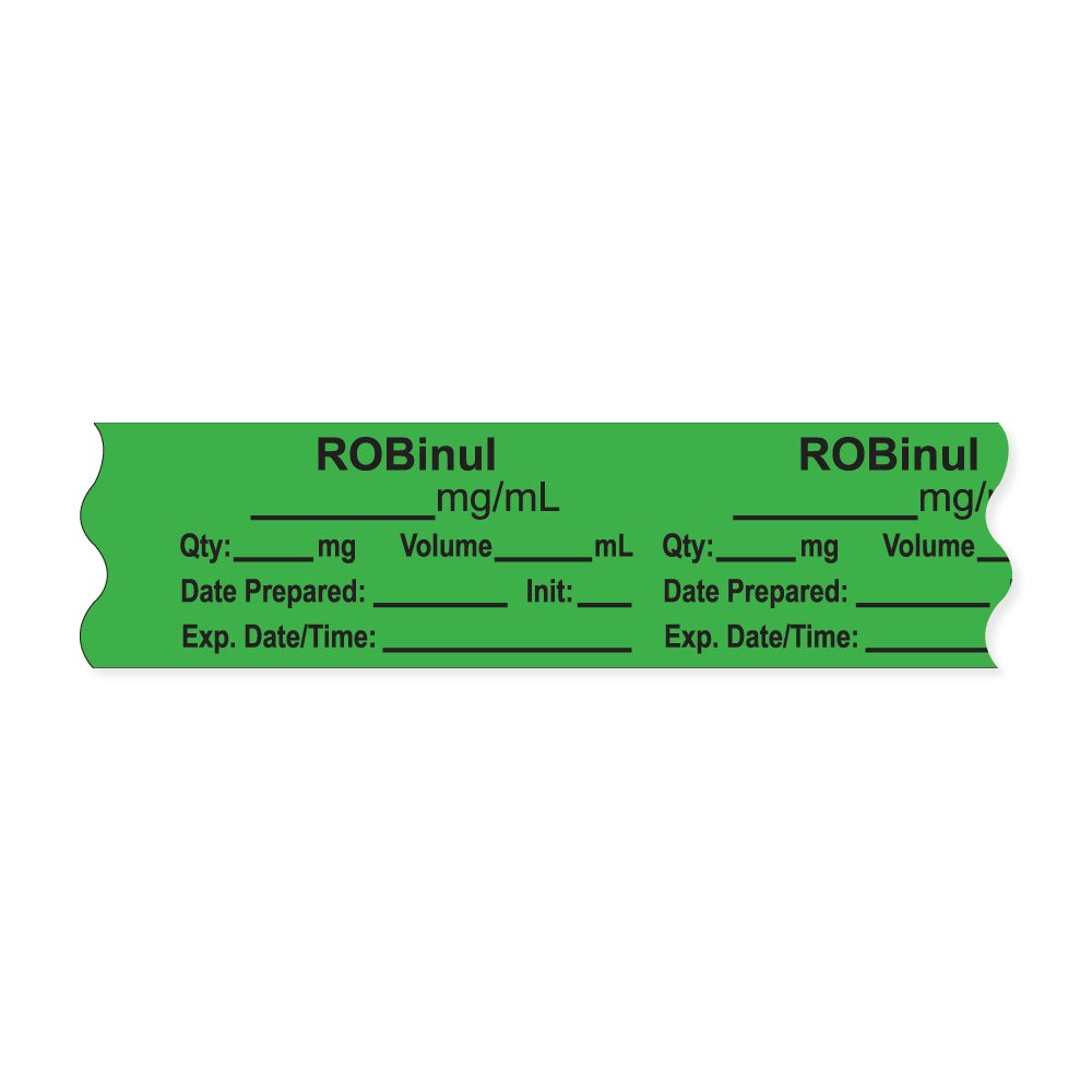 PDC Healthcare AN-2-88 Anesthesia Tape with Exp. Date, Time, and Initial, Removable, ''ROBinul mg/mL'', 1'' Core, 3/4'' x 500'', 333 Imprints, 500 Inches per Roll, Light Green (Pack of 500)