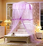 Mosquito bed net | Large screen netting bed canopy circular curtain | Keeps away insects & flies | Home & travel-purple 200x200cm(79x79inch)