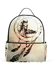 JSTEL Dream Catchers Horse School Backpacks for Boys Girls Bookbag